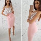 Классическая юбка-карандаш миди трикотажная Кукуруза 4 цвета от р40 по р46