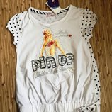 Нарядная модная футболка в стиле pin-up для девочки. Тм Zeplin На рост 146 см.