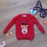Яркий свитер травка с оленем