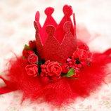 Праздничная корона на повязке с цветами