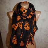 шарф шифоновый стильный модный в черепах