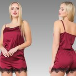 женский шёлковый комбинезон для сна в разных цветах Аа 02