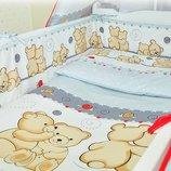 Детский комплект постельного белья защита,наволочка, простынь, пододеяльник