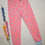 Флисовые теплые домашние пижамные брюки принт совы высокая посадка Y.D Primark.