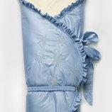 Конверт-Одеяло зимний на меху Сказка для мальчика голубой