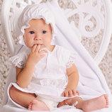 Красивый крестильный комплект для девочки белый без крыжмы