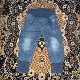 Крутецкие джинсы с матней и дырами для модницы на 80/86см рост