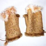 Митенки перчатки мех кролика стразы