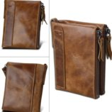 Кожаный кошелек красный, коричневый унисекс