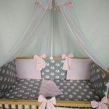 Постельное белье в кроватку с бортиками подушечками 7ед. -Сладкий сон- Акция