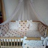 Постельное белье в кроватку с бортиками подушечками 7ед. -Сладкий сон