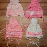 Вязані шапочки для немовлят Орхідея 0-3 міс