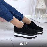 Женские туфли криперы на танкетке