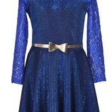 Платье с юбкой солнце-клеш и длинными рукавами для девочки 134-152р