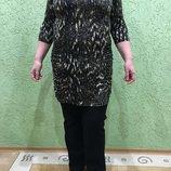 Платье-Туника в черно-коричневых тонах 54-58 германия