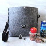 Сумка-Сейф тоут из войлока, крепкая, вместительная сумка, застёжка карабин или замок