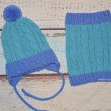 Комплект шапка, снуд.хомут, с бубоном, помпоном, на завязках, с ушками