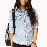 8-10 denim модная приталенная джинсовая рубашка с шипами