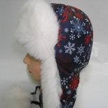 Шапка зимняя снежинка красная