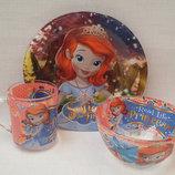 Детский набор посуды из прочного стекла 3 предмета Принцесса София