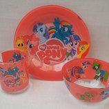 Детский набор посуды с литл пони из 3-х предметов