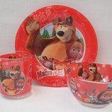 Детский набор посуды Маша и Медведь, стекло