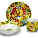 Детский набор посуды из фарфора с утенком