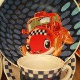Детский набор посуды из стеклокерамики Машинки