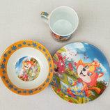 Набор детской посуды из керамики Лисенок
