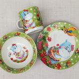 Набор посуды из керамики для малышей с бегемотиком