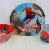 Детская посуда из стекла Человек Паук spaidermen спайдермен