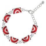 Женский браслет на руку с красной эмалью Полукруг 01651