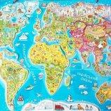 Детская карта мира 60 х 85см. Животные Страны Города Океаны Памятники