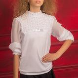 Нарядная школьная блуза с длинным рукавом для девочки 122-152р