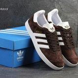 Кроссовки мужские Adidas Gazelle коричневые с белым