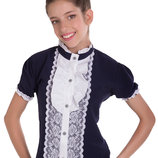 Элегантная школьная блуза приталенного силуэта для девочки 128-140р