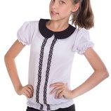 Легкая школьная блуза с коротким рукавом-фонариком для девочки 128-152р