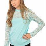 Прелестная школьная блуза с длинным рукавом для девочки 128-146р