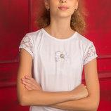 Легкая трикотажная нарядная блуза для девочки 128-152р