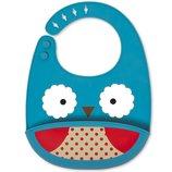 Skip Hop Силиконовый слюнявчик Совушка Zoo Fold Go Silicone Bib Blue Owl