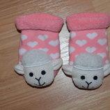 Носочки махровые с погремушкой для девочки 0-6 мес.
