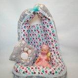 Позиционер для новорожденной девочки в сердечки с подушкой
