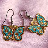Очень милые, легкие сережки бабочки