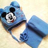 Комплект шапка и шарф Микки для мальчика на 1-3 года, вязка, весна. В наличии