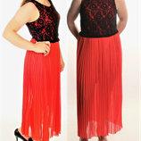 Брендовое комбинированное платье юбка гофре шифон , топ из контрастного кружева m