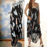Брендовое летящее асимметричное платье в принт из гофрированного шифона размеры l и xl