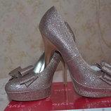 Новые Блестящие Туфли Розовое Золото CENTRO -тренд Торжеств сезона