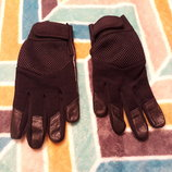 Крутые черные перчатки кожа, размер 7-7,5