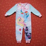 3-4 года Флисовый человечек-пижама My little pony, б/у.