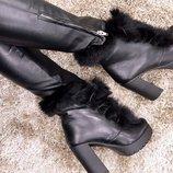 Ботиночки на устойчивом каблуке. Натуральная кожа